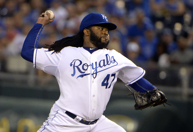 Sep 24, 2015; Kansas City, MO, USA; Kansas City Royals starting pitcher Johnny Cueto (47) delivers a pitch against the Seattle Mariners in the first inning at Kauffman Stadium. (John Rieger/USA To ...
