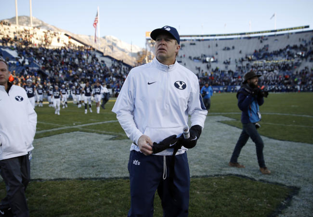Nov 21, 2015; Provo, UT, USA; Brigham Young Cougars head coach Bronco Mendenhall takes a look around after their 52-10 win over the Fresno State Bulldogs at Lavell Edwards Stadium. (Jeff Swinger/U ...