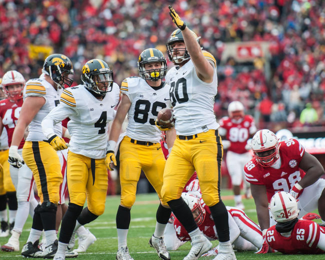Nov 27, 2015; Lincoln, NE, USA; Iowa Hawkeyes tight end Henry Krieger Coble (80) celebrates during the first half against the Nebraska Cornhuskers at Memorial Stadium. (Jeffrey Becker/USA Today Sp ...