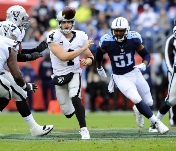 Nov 29, 2015; Nashville, TN, USA; Oakland Raiders quarterback Derek Carr (4) attempts a pass during the first half against the Tennessee Titans at Nissan Stadium. Mandatory Credit: Christopher Han ...