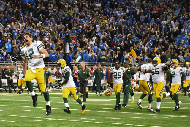 Dec 3, 2015; Detroit, MI, USA; Green Bay Packers quarterback Aaron Rodgers (12) celebrates after defeating the Detroit Lions at Ford Field. Green Bay won 27-23. (Tim Fuller/USA Today Sports)