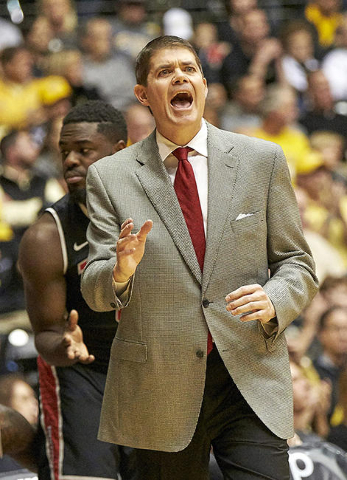 Dec 9, 2015; Wichita, KS, USA; UNLV Rebels head coach Dave Rice reacts during the game against the Wichita State Shockers at Charles Koch Arena. Mandatory Credit: Gary Rohman-USA TODAY Sports