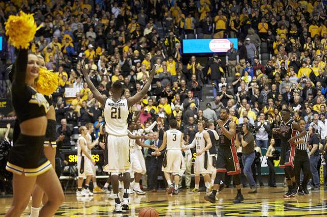 Dec 9, 2015; Wichita, KS, USA; Wichita State Shockers center Bush Wamukota (21) celebrates the Shockers win  at Charles Koch Arena. Mandatory Credit: Gary Rohman-USA TODAY Sports