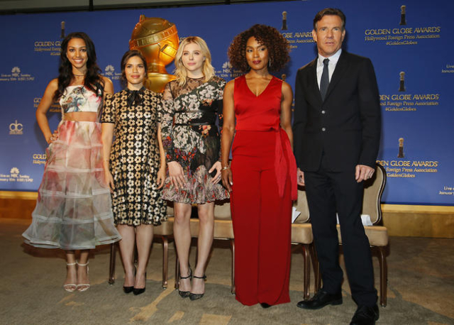 Miss Golden Globe 2016 Corinne Foxx, America Ferrera, Chloe Grace Moretz, Angela Bassett and Dennis Quaid pose during the nominations for the 73rd annual Golden Globe Awards in Beverly Hills, Cali ...