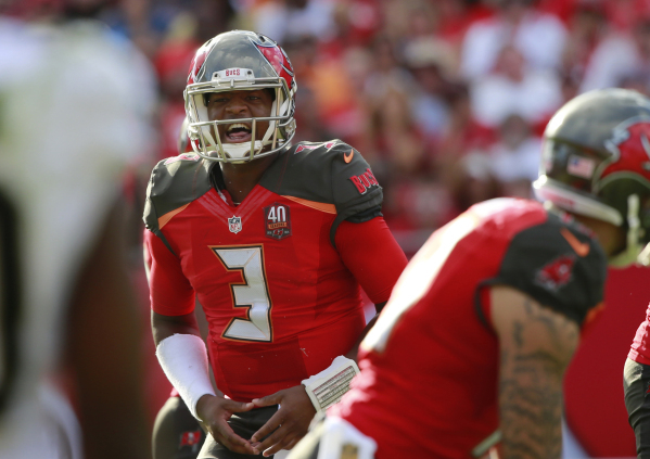 Dec 13, 2015; Tampa, FL, USA; Tampa Bay Buccaneers quarterback Jameis Winston (3) calls a play against the New Orleans Saints during the second half at Raymond James Stadium. New Orleans Saints de ...