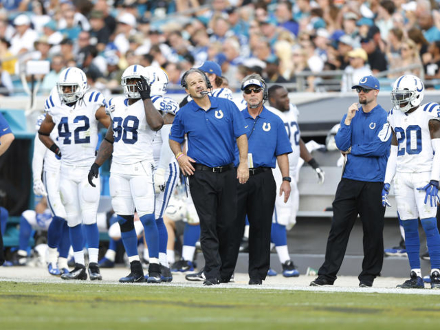 Dec 13, 2015; Jacksonville, FL, USA; Indianapolis Colts head coach Chuck Pagano looks on against the Jacksonville Jaguars in the third quarter at EverBank Field. The Jaguars won 51-16. (Jim Steve/ ...