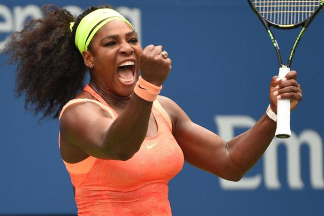Sep 11, 2015; New York, NY, USA; Serena Williams of the USA celebrates a winner against Roberta Vinci of Italy in the 3rd set on day twelve of the 2015 U.S. Open tennis tournament at USTA Billie J ...