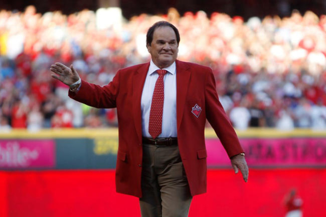 Jul 14, 2015; Cincinnati, OH, USA; Pete Rose is honored prior to the 2015 MLB All Star Game at Great American Ball Park. (Frank Victores/USA Today Sports)