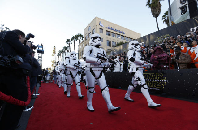 "Stormtroopers march in at the world premiere of the film ""Star Wars: The Force Awakens"" in Hollywood, Calif., Dec. 14, 2015.  (Mario Anzuoni/Reuters)"