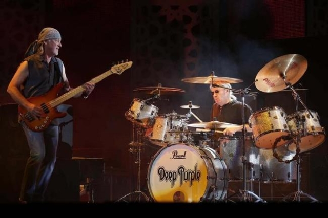 Bass player Roger Glover (L) of rock band Deep Purple performs during the 12th Mawazine World Rhythms international music festival in Rabat May 30, 2013. (Reuters/Youssef Boudlal)