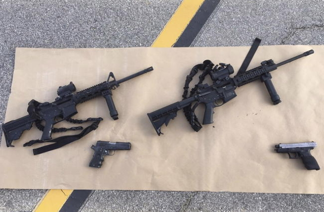 Weapons confiscated from last Wednesday's attack in San Bernardino, California are shown in this San Bernardino County Sheriff Department handout photo from their Twitter account released to ...