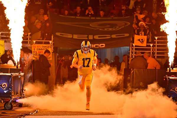 Dec 17, 2015; St. Louis, MO, USA; St. Louis Rams quarterback Case Keenum (17) runs onto the field before the game between the St. Louis Rams and the Tampa Bay Buccaneers at the Edward Jones Dome.  ...
