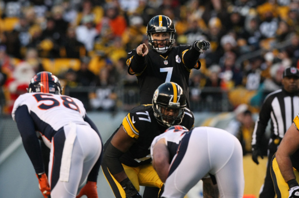 Pittsburgh Steelers quarterback Ben Roethlisberger (7) points out coverage against the Denver Broncos during the first quarter at Heinz Field. (Jason Bridge/USA Today Sports)