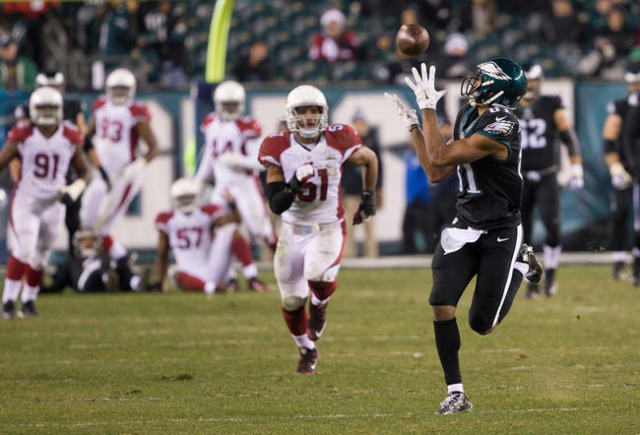 Philadelphia Eagles wide receiver Jordan Matthews (81) catches a 78 yard touchdown reception against the Arizona Cardinals during the second half at Lincoln Financial Field. The Cardinals won 40-1 ...