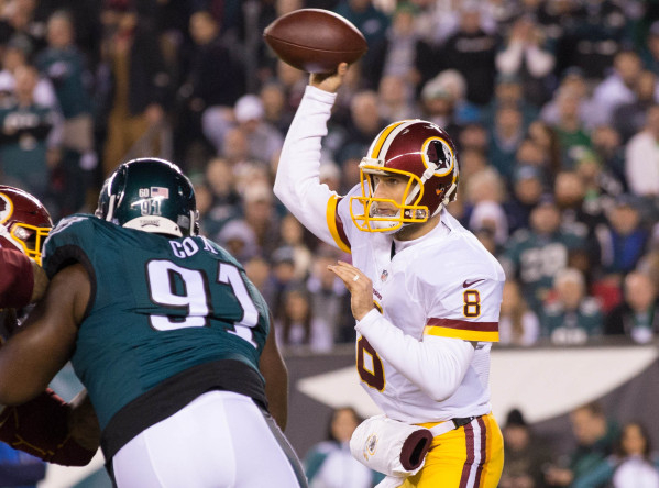 Dec 26, 2015; Philadelphia, PA, USA; Washington Redskins quarterback Kirk Cousins (8) passes against the Philadelphia Eagles during the first quarter at Lincoln Financial Field. Mandatory Credit:  ...