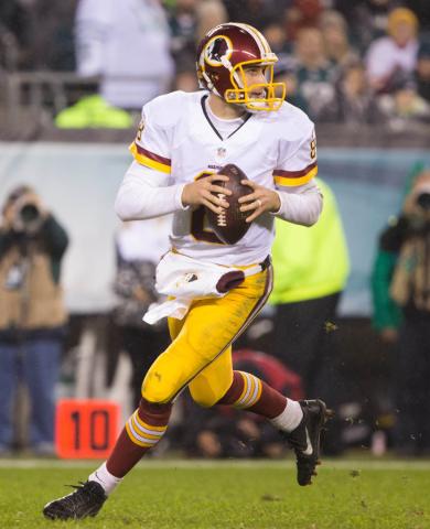 Dec 26, 2015; Philadelphia, PA, USA; Washington Redskins quarterback Kirk Cousins (8) passes against the Philadelphia Eagles during the second half at Lincoln Financial Field. The Redskins won 38- ...