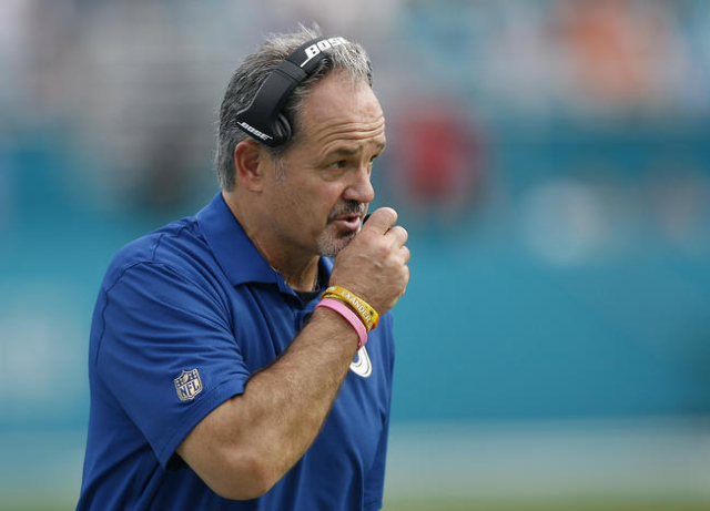 Dec 27, 2015; Miami Gardens, FL, USA; Indianapolis Colts head coach Chuck Pagano looks on from the bench area during this game against the Miami Dolphins at Sun Life Stadium. The Colts defeated th ...