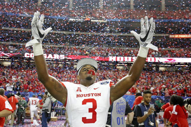 Dec 31, 2015; Atlanta, GA, USA; Houston Cougars cornerback William Jackson III (3) celebrates after defeating the Florida State Seminoles 38-24 during the 2015 Chick-fil-A Peach Bowl at the Georgi ...