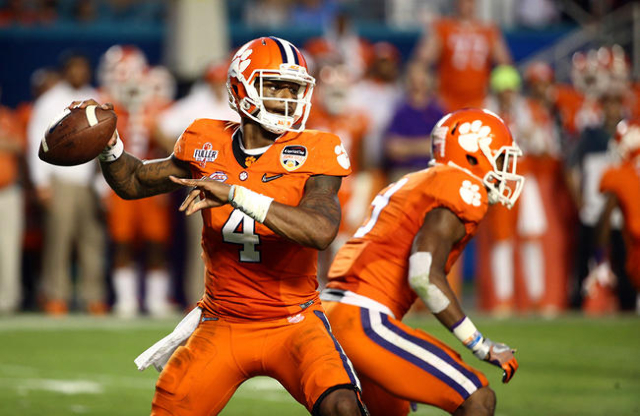 Dec 31, 2015; Miami Gardens, FL, USA; Clemson Tigers quarterback Deshaun Watson (4) throws against the Oklahoma Sooners during the second quarter of the 2015 CFP semifinal at the Orange Bowl at Su ...