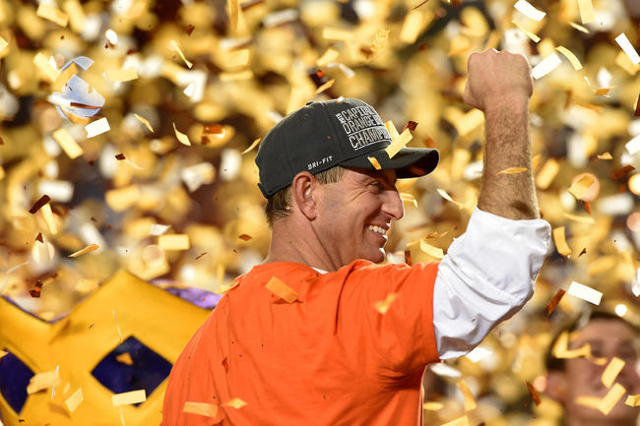 Dec 31, 2015; Miami Gardens, FL, USA; Clemson Tigers head coach Dabo Swinney reacts after the 2015 CFP Semifinal at the Orange Bowl at Sun Life Stadium. Clemson won 37-17. Mandatory Credit: John D ...