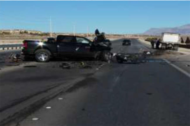 Nevada Highway Patrol investigates the scene of a fatal accident on Clark County highway 215 north of Ann Road. (Courtesy NHP))
