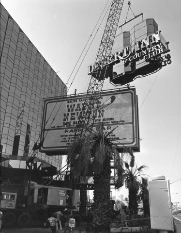Wayne Newton is advertised as a headliner while the Desert Inn sign is replaced in this 1978 photo. (Las Vegas News Bureau)