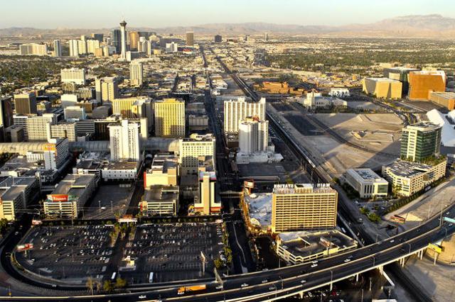Aerial view of downtown Las Vegas, Friday, June 15, 2012. (Jeff Scheid/Las Vegas Review-Journal)