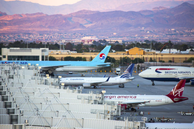 A British Airline arrives at McCarran International Airport Terminal 3 on Wednesday, Aug, 6, 2014. Foreign visitor numbers has been trending upwards in 2014.  (Jeff Scheid/Las Vegas Review-Journal)