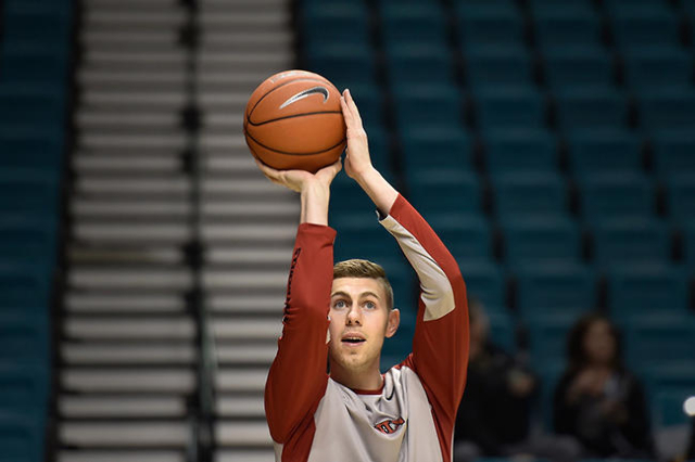 UNLV guard Ben Carter warms up before an NCAA college basketball game against Oregon at the MGM Grand Garden Arena on Friday, Dec. 4, 2015, in Las Vegas. Carter will be going up against his former ...