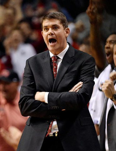 UNLV coach Dave Rice yells to his team during an NCAA college basketball game against Oregon at the MGM Grand Garden Arena on Friday, Dec. 4, 2015, in Las Vegas. (David Becker/Las Vegas Review-Jou ...