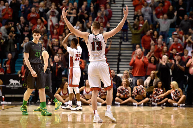 UNLV guard Ben Carter (13) reacts as the final seconds tick off the clock before UNLV defeated Oregon 80-69 during an NCAA college basketball game at the MGM Grand Garden Arena on Friday, Dec. 4,  ...