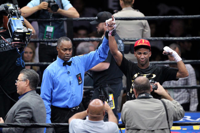 Rances Barthelemy is declared the winner after his bout with Antonio DeMarco at the MGM Grand on Sunday, June 21, 2015, in Las Vegas. Barthelemy defeated DeMarco in the Super Lightweight Bout. (Ja ...