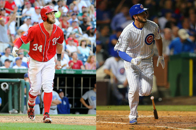 Nationals outfielder Bryce Harper (left) and Cubs third baseman Kris Bryant (right) will be honored by Las Vegas Mayor Carolyn Goodman on Wednesday. (USA Today Sports file photos)