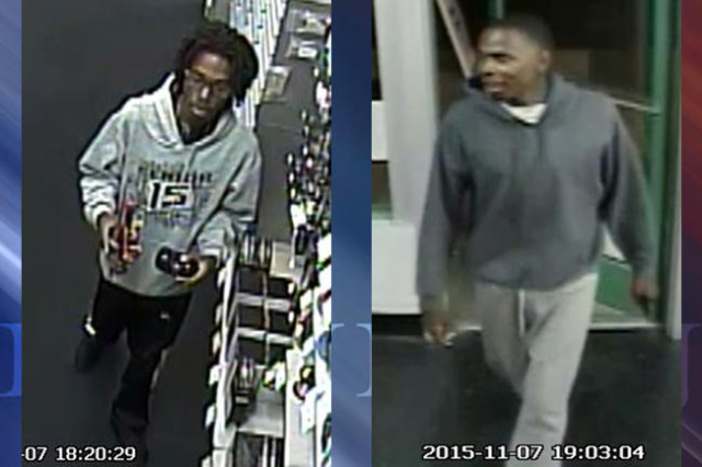 North Las Vegas police are seeking the public's help identifying two men in connection with a burglary last month. (Courtesy)