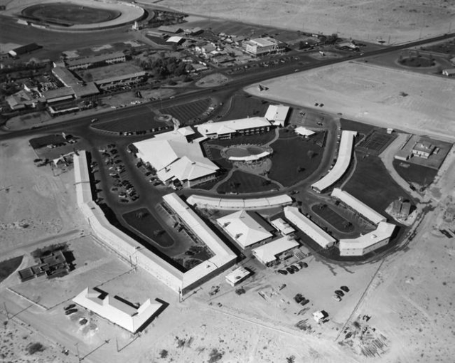 An aerial view of the Desert Inn is seen before a new addition in this undated photo. (Las Vegas News Bureau)