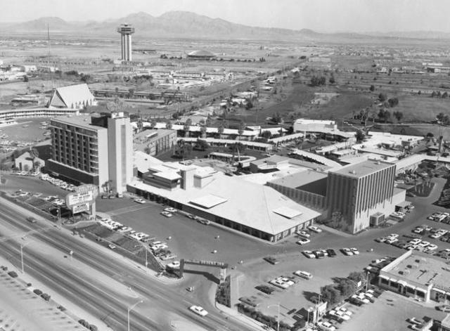 The Landmark Hotel is seen in the distance of the Desert Inn in this 1963 photo. (Las Vegas News Bureau)