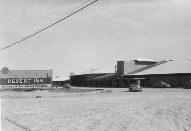 Wilbur Clark's Desert Inn is seen under construction in this undated photo. (Las Vegas News Bureau)