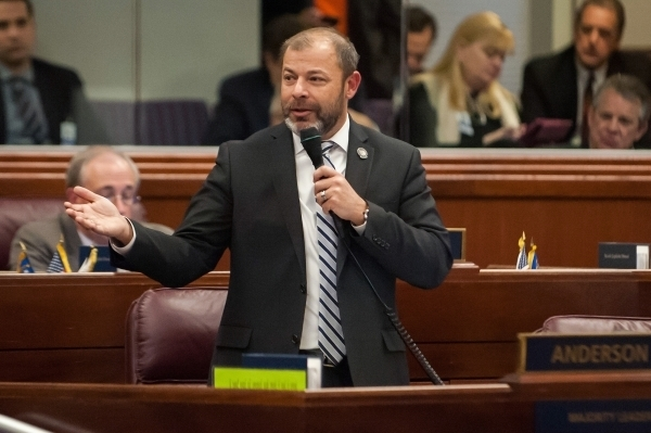 Assembly Majority Leader Paul Anderson, R-Las Vegas, urges lawmakers to support Senate Bill 1 at the Legislative Building in Carson City, Nev., on Saturday, Dec. 19, 2015. The Assembly approved th ...