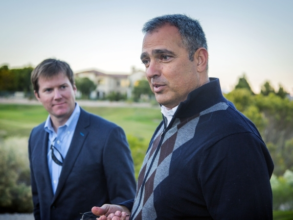 Developer Yohan Lowie, right, partner in EHB Companies, discusses the future of  Badlands Golf Course, 9119 Alta Drive,  on Wednesday, Nov. 12, 2015. EHB Companies executive vice president Brett H ...