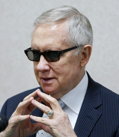 Senate Minority Leader Harry Reid, D-Nev., speaks during a question-and-answer session with Las Vegas Review-Journal reporters and editors at the Review-Journal on Wednesday, Aug. 12, 20156. BIZUA ...