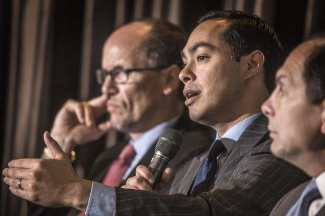 Housing and Urban Development Secretary Julian Castro, center, along with Labor Secretary Thomas Perez, left, and Veterans Affairs Secretary Robert McDonald during a panel discussion on veterans h ...
