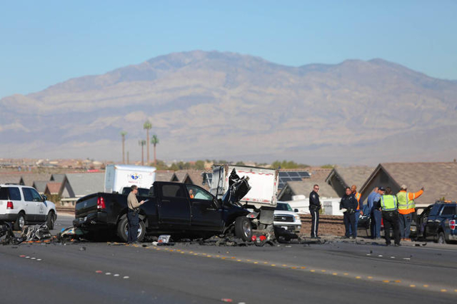 Nevada Highway Patrol investigates the scene of a fatal accident on Clark County highway 215 north of Ann Road. (Brett Le Blanc/Las Vegas Review-Journal)