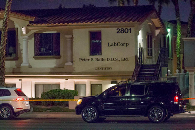 Metro investigates a thwarted robbery that left one suspected robber dead and another on the run Wednesday Nov. 16, 2015 in the 2800 block of Charleston Boulevard. (Ricardo Torres/Las Vegas Review ...