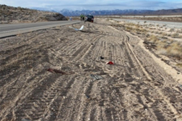 A motorcyclist crashed about 7:10 a.m. on Monday 12 miles north of the California state line. (Courtesy NHP)