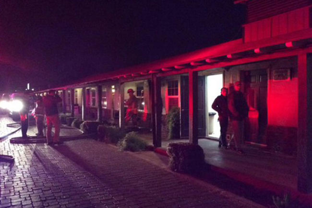 One man was treated for smoke inhalation after a fire in a room at the Sterling Gardens Motel, 1808 Fremont St., early Thursday morning, Dec. 17, 2015. (Twitter/Las Vegas Fire Department)