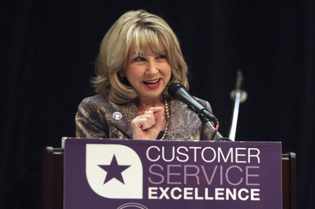 Kristin McMillan, president and ceo of the Las Vegas Metro Chamber of Commerce, makes comments at the Customer Service Excellence Awards luncheon at the Orleans hotel-casino in Las Vegas, Friday,  ...