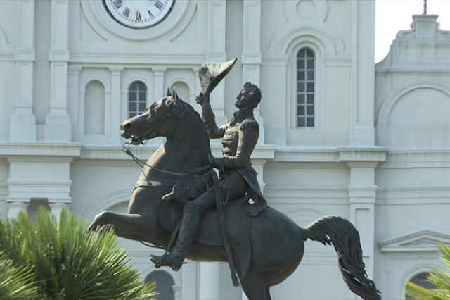 The Andrew Jackson monument in New Orleans. The city council will vote on whether or not to remove the monuments. (WGNO/CNN)