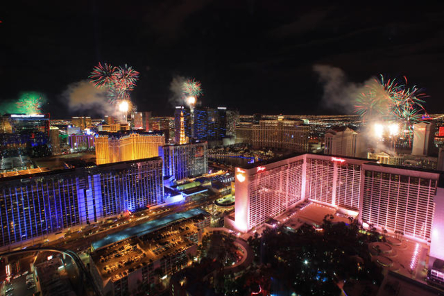 Fireworks explode over the Strip in this view from the High Roller on Thursday, Jan.1, 2015. (Las Vegas Review-Journal)