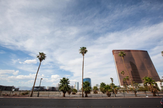 The land where the New Frontier hotel-casino once stood is seen across Fashion Show Drive near Las Vegas Boulevard in Las Vegas on Thursday, July 31, 2014. (Chase Stevens/Las Vegas Review-Journal)