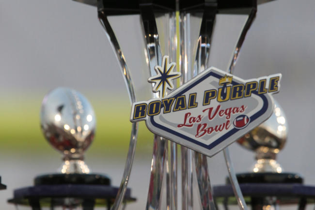 The winning trophy waits to be presented at the end of the Royal Purple Las Vegas Bowl at Sam Boyd Stadium, Las Vegas, Saturday, Dec. 20, 2014. (Donavon Lockett/Las Vegas Review-Journal)